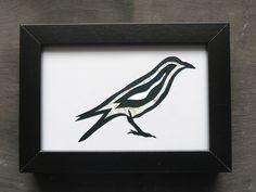 Framed Original Crow Paper-cut Artwork via The Red Corvid Art, £45.00. http://theredcorvidart.tictail.com/product/framed-original-crow-paper-cut-artwork ~ Click through for more info ~