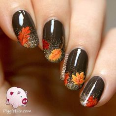 """If you're unfamiliar with nail trends and you hear the words """"coffin nails,"""" what comes to mind? It's not nails with coffins drawn on them. Although, that would be a cute look for Halloween. It's long nails with a square tip, and the look has. Fancy Nails, Cute Nails, Pretty Nails, Cute Fall Nails, Nails Ideias, Thanksgiving Nail Art, Nagellack Design, Fall Nail Art Designs, Fall Designs"""