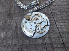 Clockpunk Steampunk Pendant Necklace, Steel Bulova Watch Movement on Silver Cable Link Chain