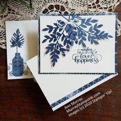BLUE & WHITE ANNIVERSARY CARD - Murray Stamps, Ink Wedding Anniversary Cards, Wedding Cards, Birthday Cards For Her, Engagement Cards, Beautiful Handmade Cards, Die Cut Cards, Stamping Up Cards, Flower Cards, Journal Cards