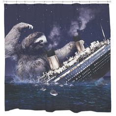 Stripper sloth shower curtain don 39 t worry my life and jokes for Sloth kong shower curtain