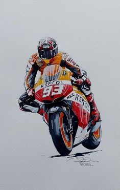 Oil Pastels Featured Images - Marc Marquez by Rod Verity Marc Marquez, Motos Honda, Motorcycle Art, Bike Art, Ktm Motorcycles, Oil Pastel Art, Oil Pastels, Bike Sketch, Custom Sport Bikes