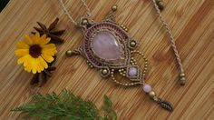Rose Quartz Necklace macrame jewelry pendant Healing Stone