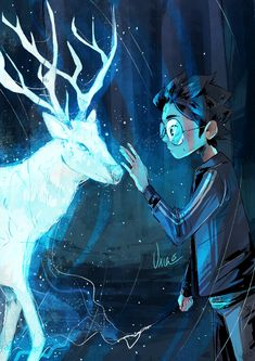 Harry Potter - Prongs,' he whispered. But as his trembling fingertips stretched towards the creature, it vanished. Art by uxia15 draws