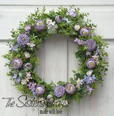 Spring Wreath Easter Wreath Flower Wreath by Sistersandcrafts
