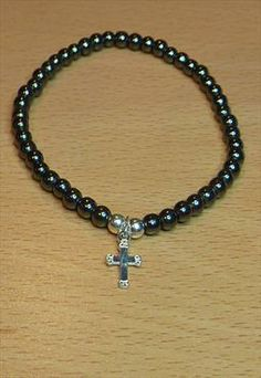 Hematite Bracelet with Sterling Silver Cross
