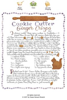 Cookie Cutter Ginger Crisps - love the way Susan Branch illustrates her recipes Old Recipes, Vintage Recipes, Cookie Recipes, Dessert Recipes, Desserts, Christmas Goodies, Christmas Treats, Christmas Baking, Christmas Recipes