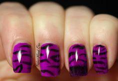 Neon Purple Animal Print Nails