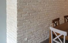 Cafe wall using Rustic White brick slips Tiles Uk, Brick Tiles, Stone Cladding, Wall Cladding, Retro Furniture, Industrial Furniture, Vintage Industrial Lighting, Cafe Wall, House Extensions