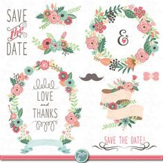 "Wedding Clipart pack ""WEDDING FLORA"" clip art,Vintage Flowers,Floral Frames,Wreath,Wedding, Save the date, invitation,Instant Download Wd054"
