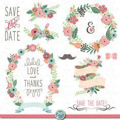 Mariage Clipart pack « Mariage FLORA » clipart, Vintage fleurs, guirlande, cadres Floral, mariage, enregistrer la date, invitation, Instant Télécharger Wd054