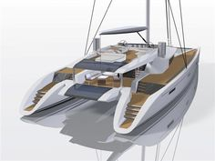 Eco Factor: Yacht powered by renewable energy. The Berret Racoupeau Yacht Design team has developed a new yacht, which when launched, will be one of the greenest in the world. Dubbed Code [e], the yacht is for those who like to see luxury and. Catamaran Design, Sailing Catamaran, Yacht Boat, Yacht Design, Boat Design, Sailing Boat, Private Yacht, Water Powers, Speaker Design