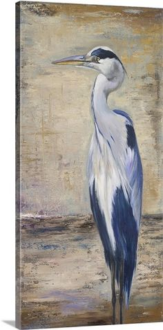 blue heron canvas painting