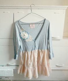 Gray peach longsleeve dress Upcycled clothing