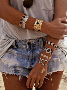 flash tattoos bracelet set // summer // festivals // beachy