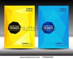 set Yellow and blue Cover design, brochure flyer, Annual report  Layout, book, booklet, poster, leaflet, polygon background