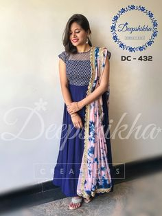 DC 432. Beautiful royal blue color floor length anarkali dress.For queries kindly WhatsApp : +91 9059683293 03 January 2018