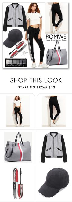 """Romwe Pants"" by ludmyla-stoyan ❤ liked on Polyvore featuring L'Oréal Paris, NYX, black, romwe, pants and drawstring"