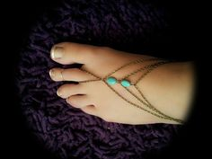 Boho Slave Barefoot Sandal Foot Bracelet Bronze Chain Bohemian Two Turquoise Beads Three Strand Foot Jewellery Barefoot Sandles Tribal