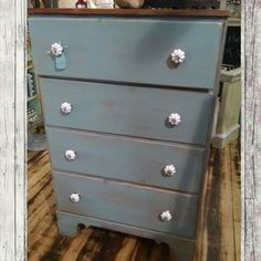 Distressed blue and stained chest of drawers. $189.99 #cherisheverymoment #homedecor #upcycling