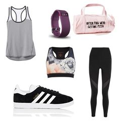 """Gym workout outfit"" by brooklyne200 on Polyvore featuring band.do, Ted Baker, Athleta, NIKE, adidas and Fitbit"
