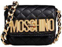 Moschino Gold Logo Leather Shoulder Bag