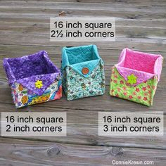 Sewing Fabric Storage Fabric Basket tutorial three size to cut the corners - Fabric Baskets Tutorial for all kinds of beautiful fabric baskets that are very easy to make. Perfect for gifts. Bag Patterns To Sew, Sewing Patterns Free, Sewing Tutorials, Sewing Projects, Bag Tutorials, Sewing Ideas, Tutorial Sewing, Quilting Projects, Quilt Patterns