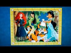 Disney PRINCESSES Puzzle Games Rompecabezas de Princess Jasmine, Mulan, Merida Kids Learning Toys