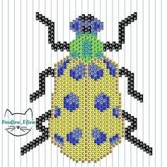Visiblement vous aimez les insectes! voici donc le diagramme... Un petit conseil : j'ai tissé les pattes à part et je les ai rajouté après. Pour les antennes, j'ai simplement enfilé des perles sur mon fil que j'ai ensuite rattaché sur la tête ! #jenfiledesperlesetjassume #miyukibeads #miyuki #perleaddict #beadwork #beadpattern #diagrammeperles #insecte #bug #brickstitch #motifpauline_eline