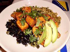 [OC] Sweet potato and green rice burrito bowl