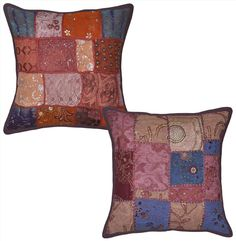Indian Embroidered Patchwork Decor Cushion Cover Gorgeous Pillow Cases 2pcs Set #lalhaveli