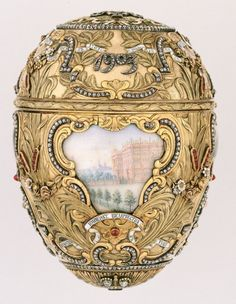 Peter the Great Easter Egg by Faberge, dated 1903.  Given by Tsar Nicholas II to the Tsaritsa Alexandra. Every Easter (except 1904 and 1905, when Russia was at war with Japan) he gave a Faberge Egg to her and to his mother, the Dowager Empress Maria Feodorovna.