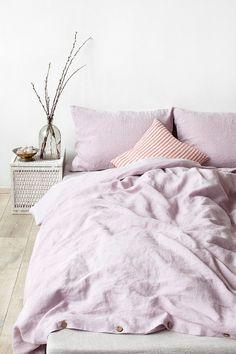 Pink Lavender Stone Washed Linen Duvet Cover