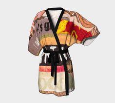 Alphabet kimono,  silky knit, chiffon, dramatic, elegant, knit bamboo, ecopoly, overlock hem, printed by hand, sewn by hand, vibrant, art #etsy