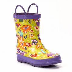 lime flower rain boot