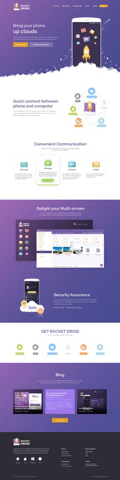 RocketDroid - Landing page Website on Behance