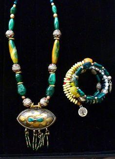 TRIBAL/BoHo Necklace Malachite Gemstones by TheJoyMoosCollection