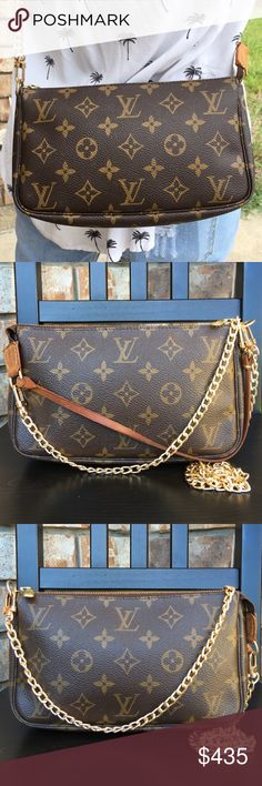 f65a4306865b Louis Vuitton pouch pochette crossbody Authentic. Date code BJ0052. Canvas  in good condition.