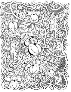 Kleurplaat aap - Dover publications