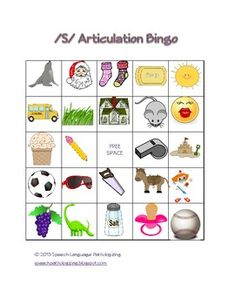 """S"" Articulation Bingo from Speech Language Pathologizing"
