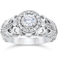 3/4ct Vintage Diamond Engagement Ring 14K White Gold #diamonds