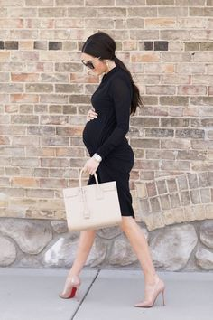 Maternity outfit ideas - Chic black dress and nude pumps