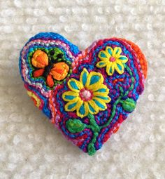 Freeform embroidery heart brooch  Brooch #123 by Lucismiles on Etsy