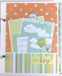 Baby Boy Scrapbook Mini Album Kit or Premade Newborn Shower