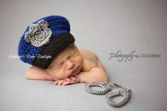 Newborn Baby Police Hat,  Crochet, Custom Made, Photo Prop, Photography Prop, Baby Shower Gift, Baby Cop, Policeman Hat Only