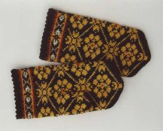Hand knitted warm wool mittens gloves patterned brown and yellow on Etsy, $43.93 AUD