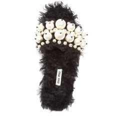 Women's Miu Miu Embellished Faux Fur Slipper ($950) ❤ liked on Polyvore featuring shoes and slippers