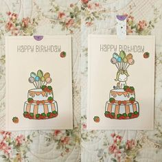 0 個讚,1 則留言 - Instagram 上的 Audrey L.(@angelaudree):「 My very first #interactivecard. Using the #celebratecake stamp set from #sweetstampshop.🍓🍓🍓 」