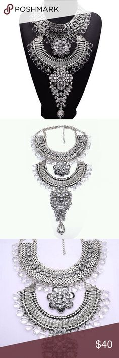 "Bohemian Statement Necklace Big & Stunning Bohemian Statement Necklace  Size: 7"" x 16""  Weight: 8.50oz  Material: Silver-tone Base Metal, Resin, Rhinestones  Nickel & Lead Free  NWT Vedawas Jewelry Necklaces"