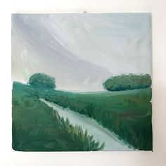 Country landscape painting in oil - landscape art oilpainting Holland trip travel holiday original handmade plein air affordable field door XantheCS op Etsy